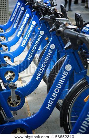 MELBOURNE, AUSTRALIA - OCTOBER 14, 2016:  Melbourne bike rental system all around the city in Melbourne, Australia.