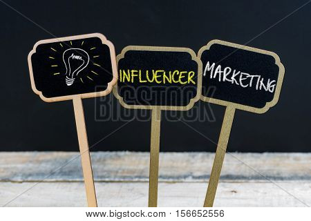 Concept Message Influencer Marketing And Light Bulb As Symbol For Idea