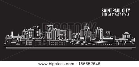 Cityscape Building Line art Vector Illustration design - Saint Paul city