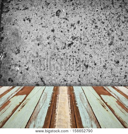 Abstract empty interior room with concrete stone wall and wooden floor
