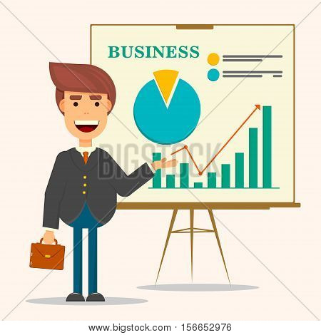 Young business man in business suit and tie making presentation in front of whiteboard. Smiling man personage with suitcase. Flat vector.