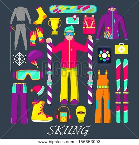 Winter Equipment for Skiing Icons Set with Man, Skiing, Clothes and Goggles. Vector illustration