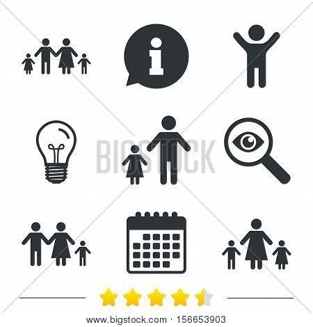 Family with two children icon. Parents and kids symbols. One-parent family signs. Mother and father divorce. Information, light bulb and calendar icons. Investigate magnifier. Vector