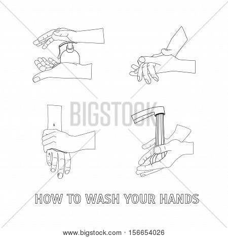 Hand Washing. How To Wash Your Hands. Poster with the Instruction Manual for Business Thin Line Pixel Perfect Art. Material Design.. Vector illustration