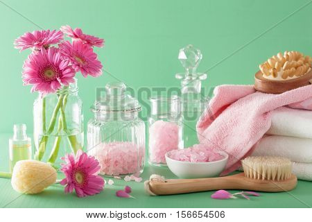 spa aromatherapy with gerbera flowers salt brush
