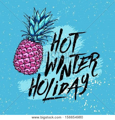 illustration hot winter holiday with pineapple on a blue background. Design elements. Vector graphics