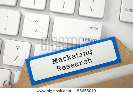 Marketing Research Concept. Word on Orange Folder Register of Card Index. Closeup View. Blurred Image. 3D Rendering.