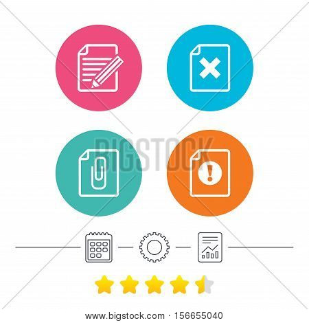 File attention icons. Document delete and pencil edit symbols. Paper clip attach sign. Calendar, cogwheel and report linear icons. Star vote ranking. Vector