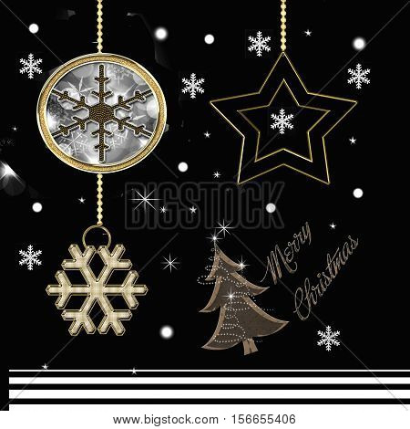black background with decorations and christmas tree