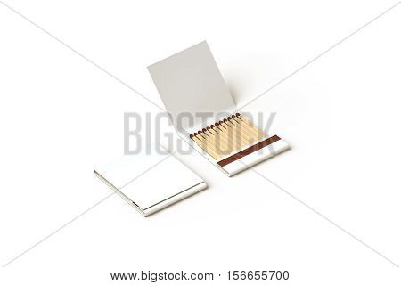 Blank promo matches book mock up clipping path 3d rendering. Empty paper match box packaging mockup isolated. Matchbook case top side view design presentation. Opened matchbox.