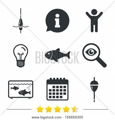 Fishing icons. Fish with fishermen hook sign. Float bobber symbol. Aquarium icon. Information, light bulb and calendar icons. Investigate magnifier. Vector