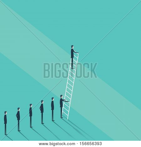 Business concept of challenge, problem solution. Businessman vector symbol climbing on corporate ladder. Eps10 vector illustration.