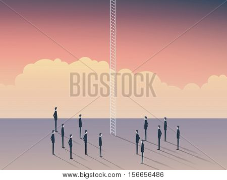 Business and career opportunities, corporate ladder. Businessmen standing to climb above clouds, sky is the limit. Eps10 vector illustration.