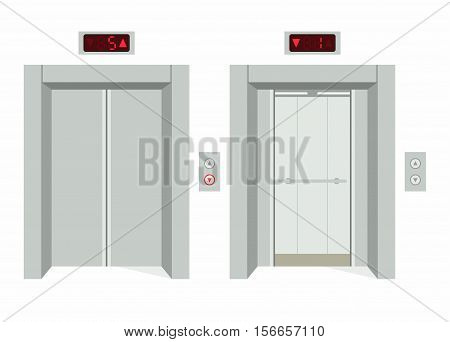 Elevator with closed doors and with open doors