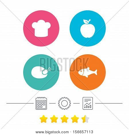Food icons. Apple fruit with leaf symbol. Chicken hen bird meat sign. Fish and Chef hat icons. Calendar, cogwheel and report linear icons. Star vote ranking. Vector