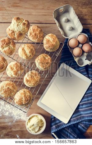 Baked Scone Pastry Eggs Digital Tablet Mockup Concept