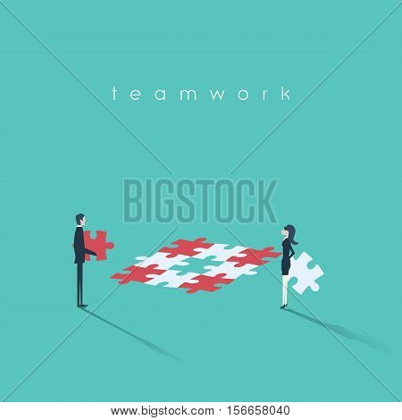Business teamwork concept with equal opportunities message. Gender equality cooperation. Eps10 vector illustration.