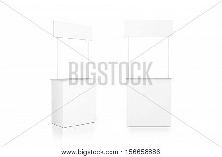 Blank white promo counter mockup stand front and side view clipping path 3d rendering. Empty promotional pop up exhibition mock up. Clear store portable desk template. Trade kiosk presentation.