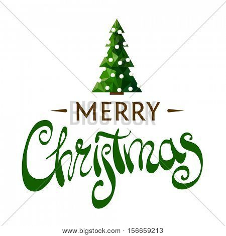 Beautiful inscription Merry Christmas with a Christmas tree on a white background for your postcard