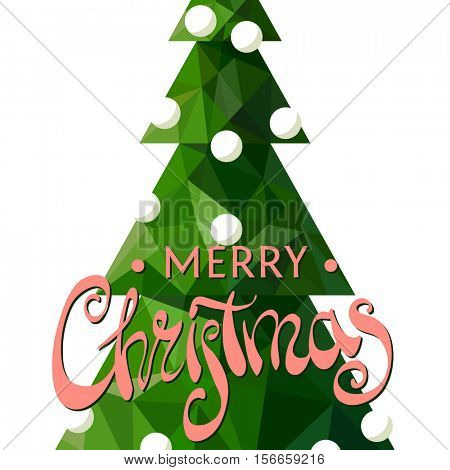 Christmas tree with a beautiful inscription Merry Christmas on a white background