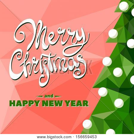 Christmas tree with garland on red background with the words Merry Christmas and Happy New Year