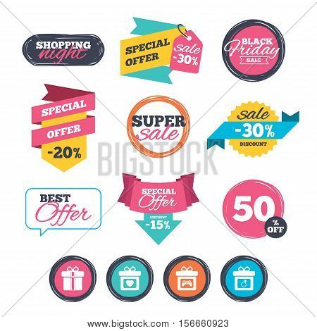 Sale stickers, online shopping. Gift box sign icons. Present with bow and ribbons symbols. Engagement ring sign. Video game joystick. Website badges. Black friday. Vector