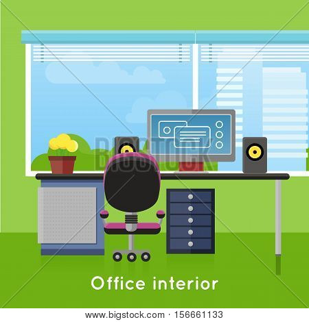 Office interior in flat style. Modern business workspace with window. Tidy organized workplace for creative worker. Modern furniture and equipment in the room. Working place with desktop. Vector