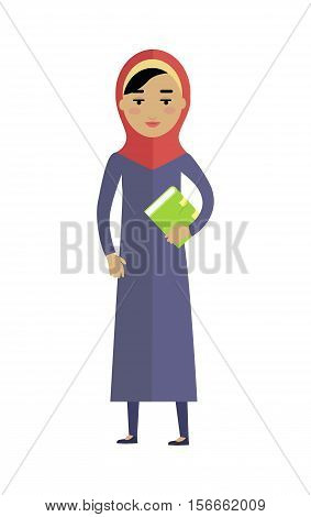 Young arabian woman with book isolated on white background. Portrait of beautiful girl in red paranja. Attractive muslim woman full length. Part of series of people of the world. Vector illustration