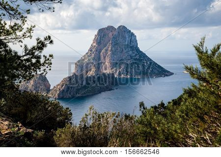 A view of the imposing island of Es Vedra
