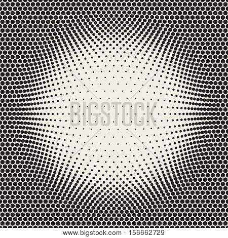 Halftone Circles Bloat Effect Frame. Abstract Geometric Background Design. Vector Seamless Black and White Pattern.