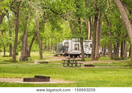 Summer camping at Cherry Creek State Park Colorado.