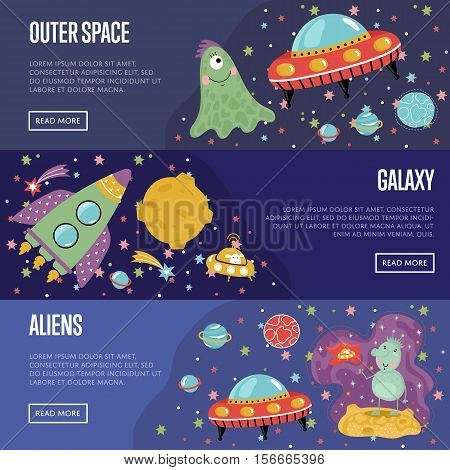 Outer space, galaxy, aliens cartoon banners. Funny alien character, flying saucer, rocket, star, planet, comet vector illustration on blue background set. For planetarium, astronomical club