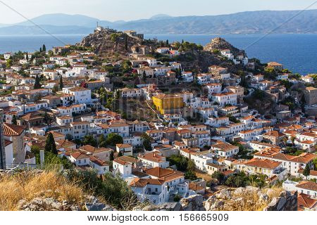 View of hill and houses on Hydra island, Greece.