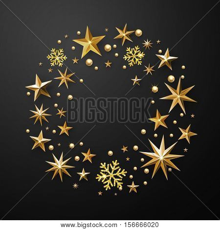 Christmas wreath decoration of gold glitter stars, snowflakes with golden glittering foil gilding. Round Christmas ornament