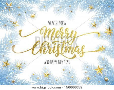 Merry Christmas, Happy New Year greeting card, poster template of pine and fir christmas tree branches, golden stars, bauble balls, ornament decorations. Calligraphy lettering text