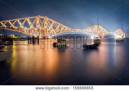 The Forth Road Bridge by night in Scotland