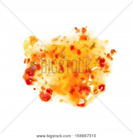 Splashes droplets and spilled sweet and sour sauce. Blots of sweet&sour sauce. isolated on white background. Flat lay top view