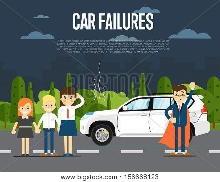 Car failures concept with people standing near broken car on road vector illustration. Man in business suit and cape superhero. Roadside assistance. Automobile repair service. Road accident.