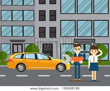 Car troubles concept with people couple standing near broken car on road vector illustration. Concept for automobile repair service. Roadside assistance. Car repair. Urban cityscape background.