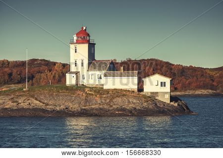Tyrhaug Lighthouse. Coastal Tower, Old Style