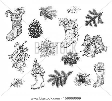 Christmas hand drawn sketch of gift stocking sock, pine wreath, fir cone, spruce branch, holly leaf bow, bauble ball, bell, Santa winter boot, Christmas tree. Isolated vector icons on blackboard