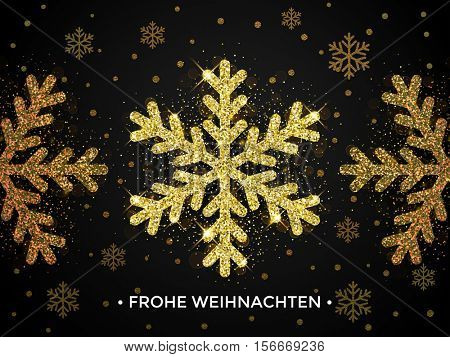 Frohe Weihnachten. German Christmas greeting card with golden winter snowfall on black background. Snowflakes decoration pattern of gold shiny sparkling glitter