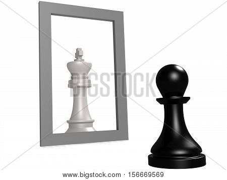 Pawn Looking In The Mirror Seeing Queen