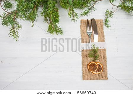 Silverware: Fork And Knife On A Christmas Background