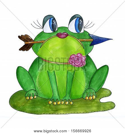 Green frog with an arrow in her mouth. Watercolor hand drawn illustration.