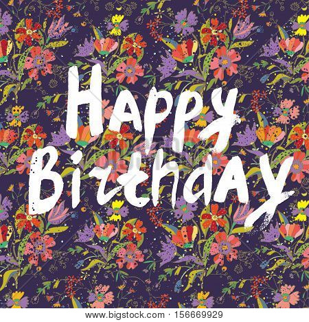 Happy birthday floral greeting card - retro design of vector illustration