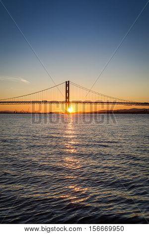Sunset over the bridge in Scotland in summer
