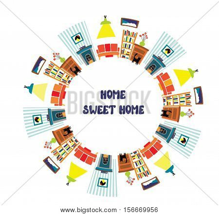 Home interior card with frame for the text - vector graphic illustration