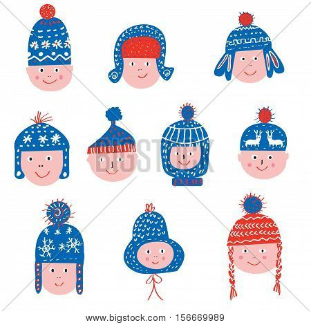 Funny winter hats set - sketchy style vector graphic illustration