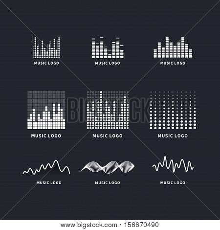 Set colorful ui ux music equalizer sound waves. Audio electronic bar. Music waves logo. Dj vector illustration. Black and white light audio signal.